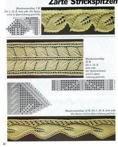 """Отделка края спицами (кайма) - Tatiana Alexeeva - Picasa Web Albums """"leaf edging and double leaf insertion lace, knitting, stricken"""", """"Non-English site Lace Knitting Patterns, Knitting Stiches, Knitting Charts, Hand Knitting, Stitch Patterns, Crochet Motifs, Knit Crochet, Knitting Club, Knit Edge"""