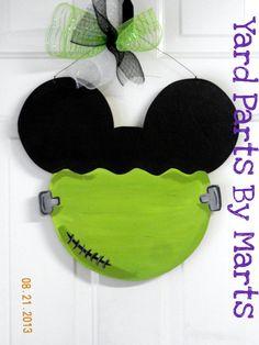 Frankenstein MICKEY ears HALLOWEEN door hanger by YardPartsByMarts, $29.00