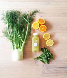 Fennel Juice 1–2 fennel bulbs 1 orange, peeled 1/2 lemon, peeled 2 sprigs of mint