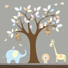 Jungle Vinyl Wall Decal with AnimalsNursery Tree by Modernwalls