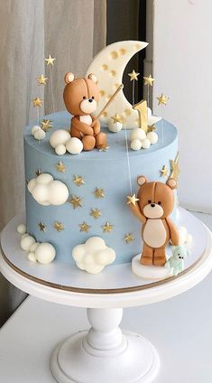 Torta Baby Shower, Baby Shower Cakes For Boys, Teddy Bear Baby Shower, Baby Boy Cakes, Babyshower Cake Boy, Baby Shower Blue, Baby Shower Pasta, Baby Shower Balloons, Baby 1st Birthday Cake