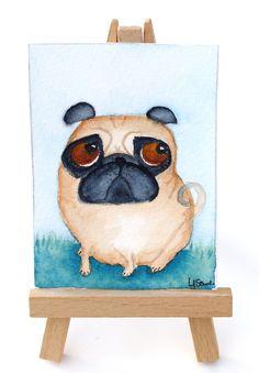 Original watercolor ACEO Pug Painting ATC Artist by LornaSoar, £5.00