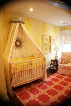 gorgeous! pink + yellow nursery i would love to do this its exactly how i wanted it color wise for a little girl