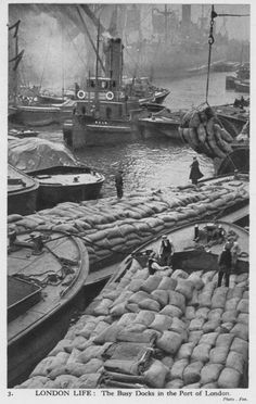 An poster sized print, approx (other products available) - London Life - The Busy Docks of the Port of London Date: circa 1940 - Image supplied by Mary Evans Prints Online - Poster printed in the USA Old London, London City, East London, Victorian London, Vintage London, London Docklands, London History, British History, Asian History