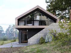 // Forest House Visualisation by Aleksandra Nuzhnaya Country Modern Home, Modern Barn House, Contemporary House Plans, Modern House Design, Hillside House, Long House, Forest House, Cabana, Home Fashion