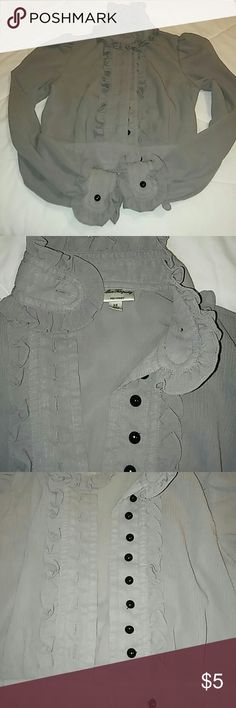 Alice Templerley vintage blouse Long sleeves grey. High neck collar. Ruffles neckline and sleeves and front. Fully lined in gray inside. See photo 4. The hem begin to unravel on the bottom across waist line. ALICE by Temperley Tops Blouses
