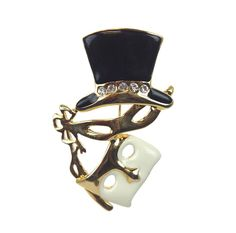 Mask Pin/Pendant Top Hat Black/White