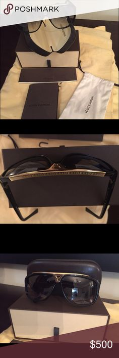 Louis Vuitton Evidence black and gold sunglasses Gently used Louis Vuitton Evidence sunglasses in black and gold. Comes with original box and case. In very good condition and can be worn any time of the wear! Louis Vuitton Accessories Sunglasses