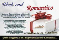 Il week-end (2 giorni/1 notte) comprende: - alloggio con formula B&B; - aperitivo afrodisiaco di Benvenuto, servito in camera; - una cena, a lume di candela, in ristorante convenzionato (antipasto; primo; secondo; dolce; caffé; bevande incluse); - una guida per la passeggiata romantica notturna; - un bouquet di fiori in omaggio;