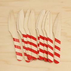 Red Striped Wood Knives | 10ct - $6.45