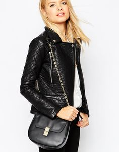 Image 3 of ASOS Leather Structured Saddle Bag With Chain Handle