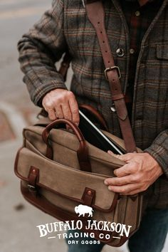 Men's vintage inspired waxed canvas briefcase bag. Our handmade briefcases are where men's fashion meets function. With well-designed space for laptops and more, we craft briefcase bags and briefcases for men who take care of business.