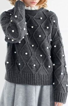 Chic Jewel Neck Long Sleeve Beading Sweater