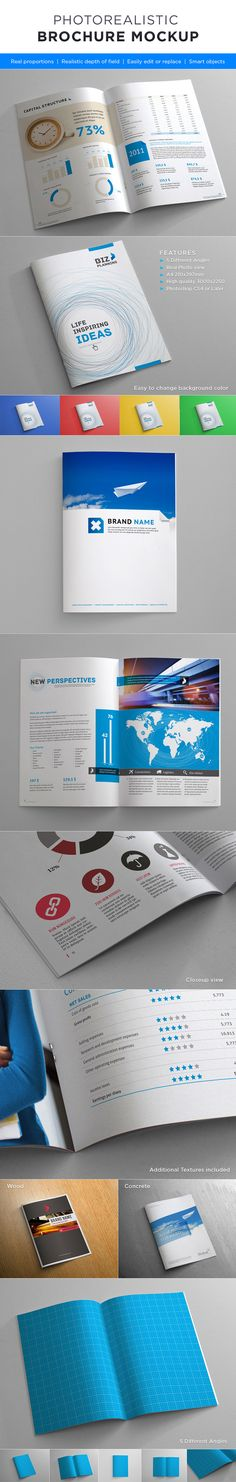 Photorealistic Brochure Mock-up  Easy to replace pages with your designs using smart objects, double-click the Smart Layer, copy & paste your artwork, save, and you're done!