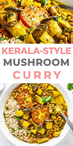 This Kerala-style vegan mushroom curry is a hearty dish with a creamy lentil and coconut broth, spiced with chillies, turmeric, and fenugreek - in 290kcal. kerala-style mushroom curry,mushroom curry indian style,mushroom curry for rice,kerala curry with coconut milk,vegetable indian curry,vegan Indian curry #vegan #govegan #dairyfree #glutenfree #recipe #cooking #food Tasty Vegetarian Recipes, Pescatarian Recipes, Curry Recipes, Healthy Recipes, Dried Lentils, Vegan Stew, Vegan Curry, Food Dishes