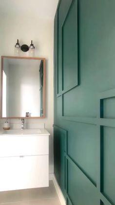Accent Wall Designs, Accent Wall Colors, Bedroom Wall Colors, Diy Bedroom Decor, Small Bathroom Paint, Bathroom Accent Wall, Bathroom Accents, Cheap Bathroom Remodel, Bathroom Ideas