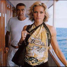 Madonna with an Hermes scarf worn as a top.