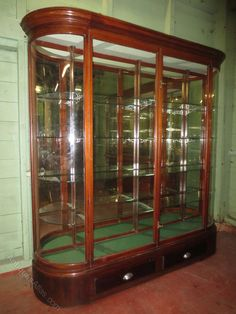Mahogany Mirror Backed Shop Display Cabinet - Antiques Atlas