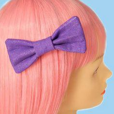 Kawaii Purple Glitter Pastel Goth Fairy Kei Retro 80s Hair Bow Clip Barrette Puffy Bow