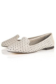 MOON Grey Laser-Cut Slippers