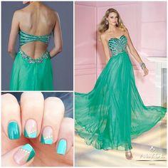 """#prom #prom2015 #prom2k15 #promdresses #alyce #alyceprom #alyceparispromdresses #formal #pageant #pageantdress #nails #glitter #sparkle #nailart #seafoam…"""