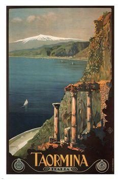 Taormina VINTAGE TRAVEL POSTER Mario Borgoni Italy 1927 24X36 SENSATIONAL!