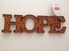 Metal ART Cutout HOPE for Wall or Stand Alone Bold Modern ContemporyRustBrownNWT #MakeMarket #Modern