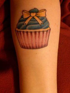 bow cupcake tattoo