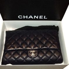 2c14c6286f1 Get the trendiest Clutch of the season! The Chanel Clutch Dark Navy  Lambskin Leather Clutch is a top 10 member favorite on Tradesy.