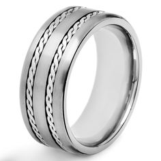 Shop for Men's Crucible Titanium Rope-inlay Comfort-fit Ring - White. Get free delivery On EVERYTHING* Overstock - Your Online Jewelry Shop! Engagement Rings For Men, Perfect Gift For Him, Womens Wedding Bands, Titanium Rings, Rings Online, Stainless Steel Rings, Titanic, Jewelry Shop, Jewelry Rings