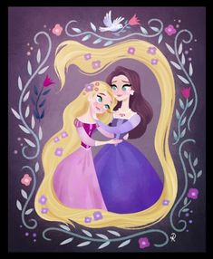 Rapunzel's Portrait of herself and her mother from Season One, Episode Three, of Tangled: The Series titled 'Fitzherbert P. Disney Rapunzel, Tangled Rapunzel, Princess Rapunzel, Disney Kunst, Arte Disney, Disney Fan Art, Disney Magic, Disney Animation, Disney And Dreamworks