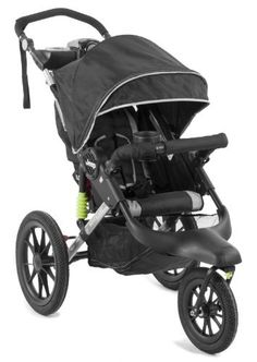 """Jeep Adventure Jogging Stroller, Black (031878039717) Forward-locking front wheel provides increased wheel base and stability while jogging; Swivels for everyday use Compatible with many popular infant car seats (no adapter required) including: Baby Trend, Britax, Chicco, Cosco, Graco, Peg Perego and Safety 1st 16"""" rear air-filled tires and shock absorbing suspension system increase performance on uneven surfaces and provide a smooth ride Multi-position reclining seat accommodates 60 pounds ..."""