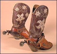 Western Boots made by Hyer Boot Co circa 1928 and Bronc Riding Spurs, National Cowboy and Western Heritage Museum.