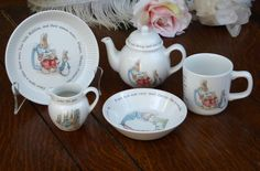 Wedgwood Beatrix Potter Peter Rabbit China Tea Set, Peter Rabbit Dishes, Wedgwood Child's China Tea Set by MyFrenchTexas on Etsy