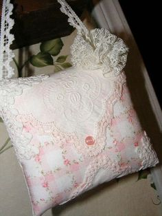 Pink Climbing Rose White and Pink Vintage Hankie Lavender Sachet