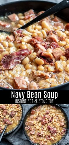 easy Instant Pot Navy Bean Soup is an old fashioned recipe for a delicious soup made with a hamhock, ham, and navy beans. It's a creamy, flavorful bean soup that's the best way to use up leftover ham after Easter, or Christmas dinner. Navy Bean Recipes, Bean Soup Recipes, Crockpot Recipes, Cooking Recipes, Crockpot Ham And Beans, Ham Recipes, Yummy Recipes, Instant Pot Beans Recipe, Instant Pot Dinner Recipes