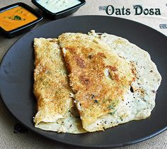 INSTANT OATS DOSA - Ingredients:  Quick cook oats(Used Quaker) 	3/4 cup  Rice flour 	1/2 cup  Sooji or wheat flour 	1/4 cup  Green chilli 	1 no, chopped  Coriander leaves chopped 	1 tblsp  Ginger chopped 	1 tsp  Cumin seeds/jeera 	1 tsp  Pepper 	1 tsp  Onion 	1 no,chopped  Salt 	as needed  Water 	as needed