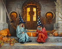 Halloween Sweetness Acrylic Print by Greg Olsen. All acrylic prints are professionally printed, packaged, and shipped within 3 - 4 business days and delivered ready-to-hang on your wall. Choose from multiple sizes and mounting options. Samhain Halloween, Spirit Halloween, Holidays Halloween, Happy Halloween, Halloween Stuff, Halloween Cartoons, Halloween Porch, Halloween 2019, Halloween Cards