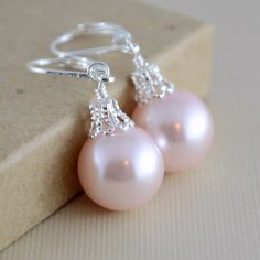 Blush Pink Earrings Large Glass Pearls Soft and Pretty Christmas Balls Silver Plated Lever Earwires Fun Holiday Jewelry - Jewelry - Ideas of Jewelry - Pink Jewelry, Pearl Jewelry, Beaded Jewelry, Handmade Jewelry, Turquoise Jewelry, Boho Jewelry, Antique Jewelry, Jewelry Bracelets, Jewelry Logo