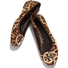 85744f1749cf Tory Burch Reva Leopard-Print Fur Logo Flat ($265) ❤ liked on Polyvore