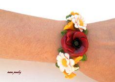 Poppy bracelet  Poppy jewelry  Red jewelry  by insoujewelry