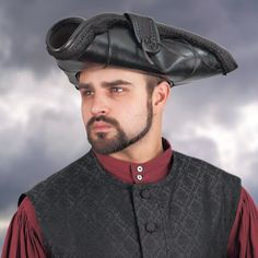 Pirate King Leather Tricorn Hat