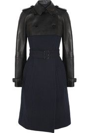 Burberry ProrsumLeather and wool-blend coat