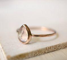 Rose Quartz Ring Teardrop Ring Engagement Ring Rose door Luxuring