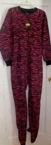 NWT Womens Pink Black Zebra Print Onesie Footie Pajamas Size Large