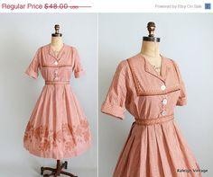 SALE Vintage 1960s Dress  60s Gingham Cross by RaleighVintage, $40.80