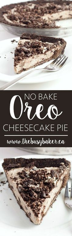 This No Bake Oreo Cheesecake Pie is a super easy to make cool and refreshing summer dessert! The filling is made from only 4 simple ingredients! Summer Desserts, No Bake Desserts, Easy Desserts, Delicious Desserts, Dessert Recipes, Yummy Food, Oreo Desserts, Holiday Desserts, Healthy Desserts