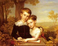 Karl Jakob Theodor Leybold - Porträt von zwei Kindern in einer weitläufigen Landschaft (1823)