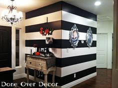 I would love this with grey and white stripes on two walls