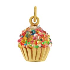 Cupcake 14k Gold Charm - but easily done in clay with seed beads.  Love it
